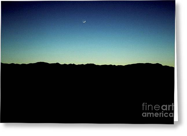 Life Change Greeting Cards - The moon over Death Valley at night. Greeting Card by Micah May
