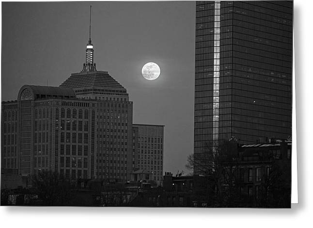 The Moon Rising Over Boston Black And White Greeting Card by Toby McGuire