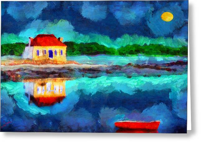 Village By The Sea Greeting Cards - The moon was yellow Greeting Card by George Rossidis