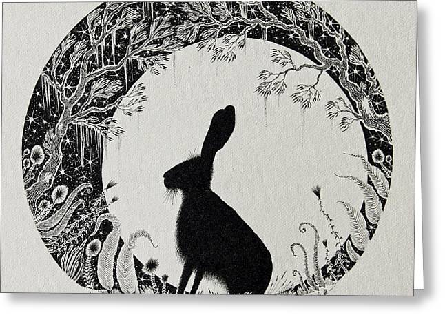 Nature Scene With Moon Greeting Cards - The Moongazer Greeting Card by Jamie Patterson