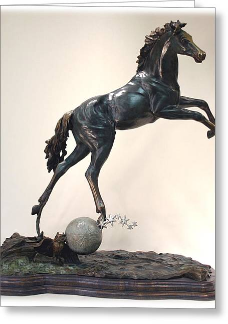 Horse Sculptures Greeting Cards - The Moonhorse Bronze Greeting Card by Dawn Senior-Trask