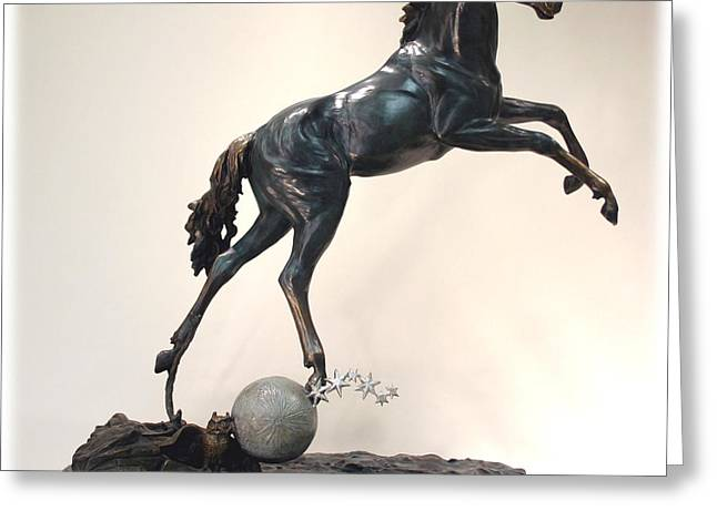 The Moonhorse Bronze Greeting Card by Dawn Senior-Trask