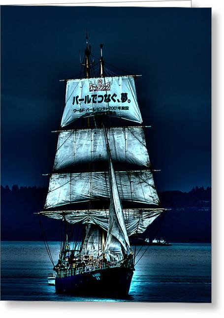 Pirate Ship Greeting Cards - The Moonlit Kaisei Brigantine Tall Ship Greeting Card by David Patterson