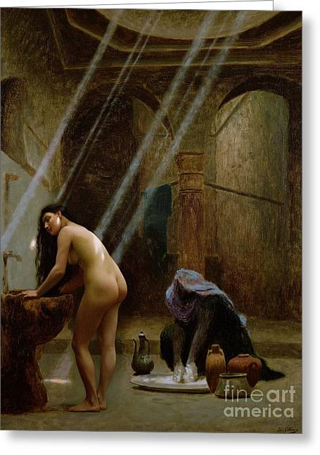 Jean Leon Gerome Greeting Cards - The Moorish Bath Greeting Card by Jean Leon Gerome