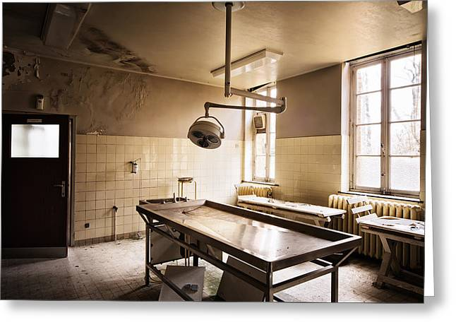 Abandoned Places Greeting Cards - The Morgue Autopsy Table - Abandoned Buildings Greeting Card by Dirk Ercken