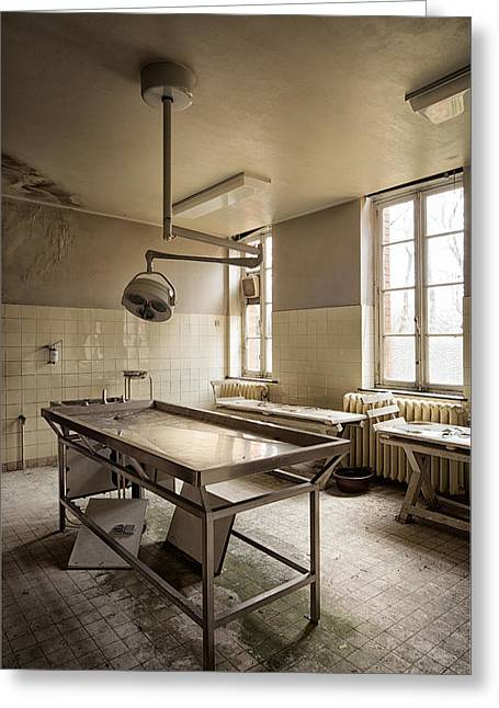 Post-mortem Greeting Cards - the morgue autopsy table - Urban exploration Greeting Card by Dirk Ercken