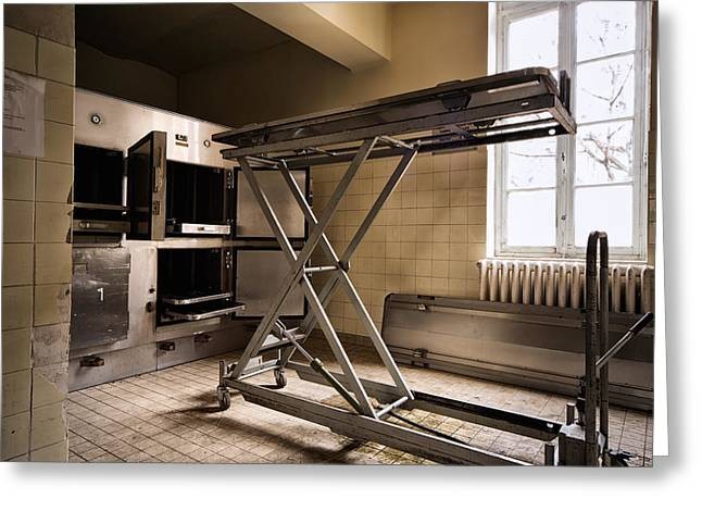 Post-mortem Greeting Cards - The Morgue Freezer- Abandoned Hospital Greeting Card by Dirk Ercken