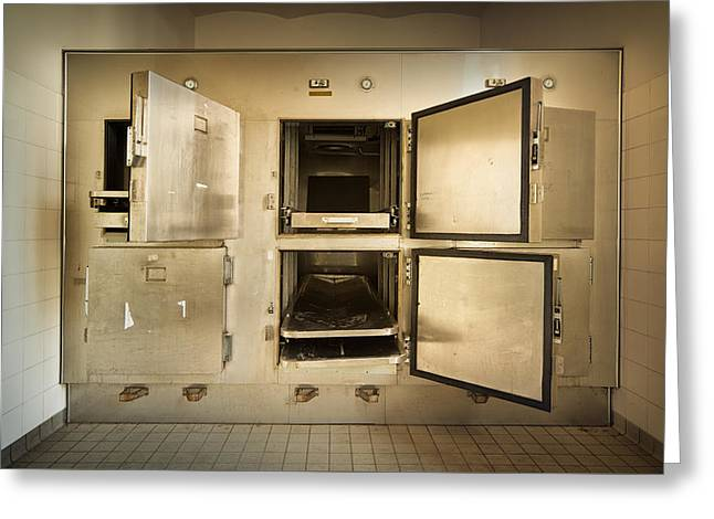 Post-mortem Greeting Cards - The Morgue Freezer Greeting Card by Dirk Ercken