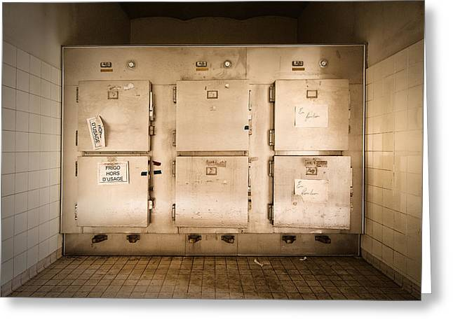 Post-mortem Greeting Cards - The Morgue Freezer - Urban Decay Greeting Card by Dirk Ercken