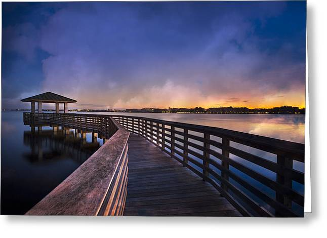 Foggy Beach Greeting Cards - The Morning Dawns Greeting Card by Debra and Dave Vanderlaan
