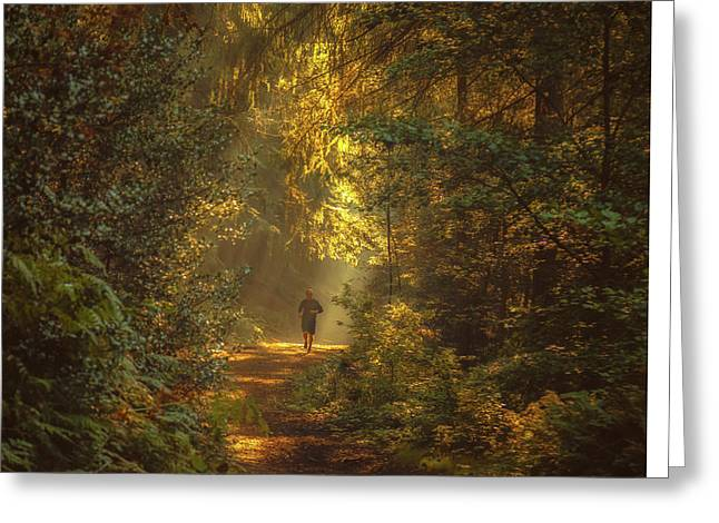 Lighted Pathway Greeting Cards - The morning jog Greeting Card by Chris Fletcher