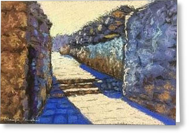 Stone House Pastels Greeting Cards - The morning light Greeting Card by Manju  Panchal