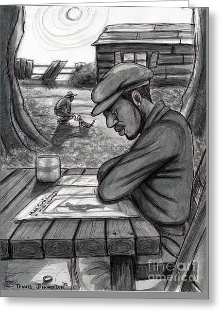 African-american Drawings Greeting Cards - The Morning Paper Greeting Card by Travis Jimmerson