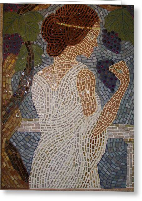 Hand Made Glass Greeting Cards - The Mosaic Muse Greeting Card by Robin Miklatek