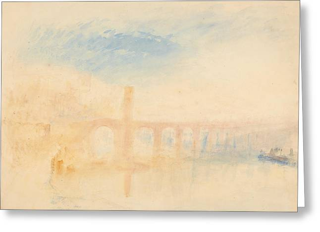 The Moselle Bridge Coblenz Greeting Card by Joseph Mallord William Turner