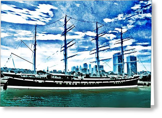 Wooden Ship Greeting Cards - The Moshulu Greeting Card by Bill Cannon