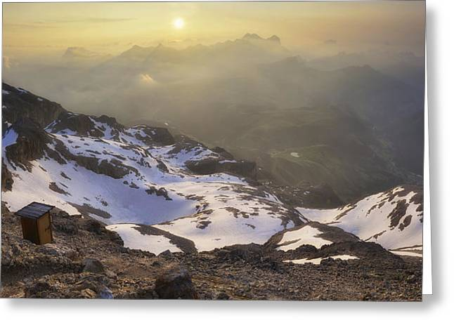 Dusk Greeting Cards - The Most Panoramic Wc In The World (3253 Mt High) Greeting Card by Andrea Auf Dem Brinke
