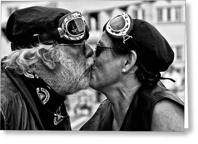 Festival Greeting Cards - The Motard Kiss Greeting Card by Luis Sarmento
