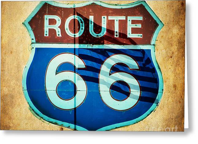 Roadway Greeting Cards - The Mother Road Route 66 Greeting Card by MaryJane Armstrong