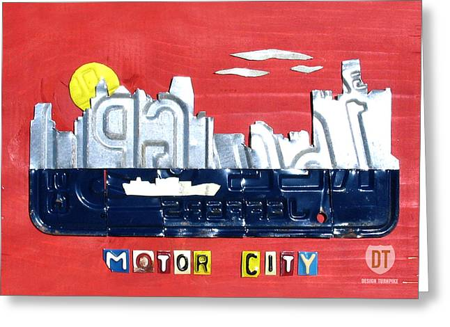 Highway Greeting Cards - The Motor City - Detroit Michigan Skyline License Plate Art by Design Turnpike Greeting Card by Design Turnpike