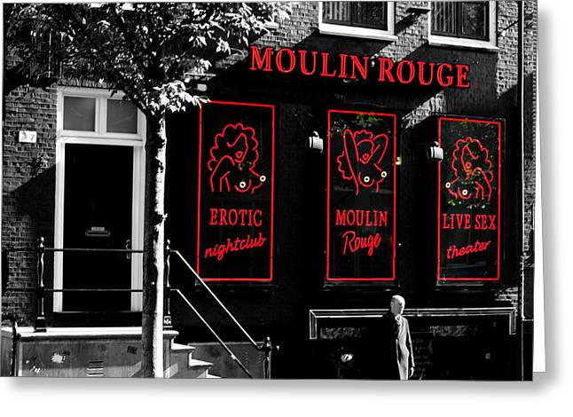 Coffee Drinking Greeting Cards - The Moulin Rouge Greeting Card by Sergio B