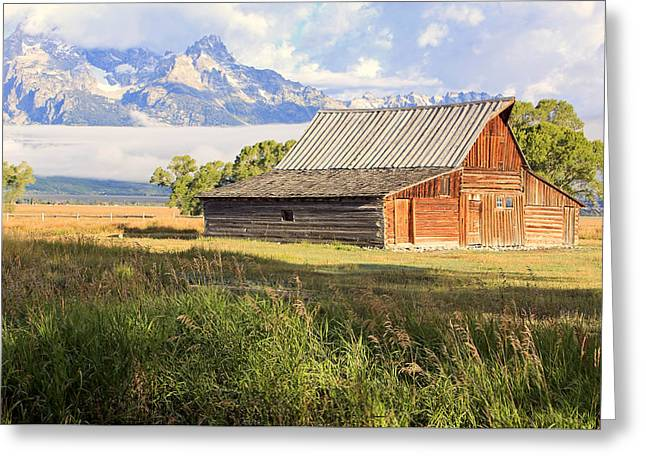 Old Barns Greeting Cards - The Moulton Barn on Mormon Row. Greeting Card by Johnny Adolphson