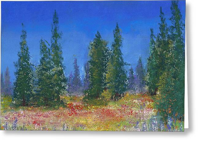 Green Foliage Pastels Greeting Cards - The Mountain Meadow Greeting Card by David Patterson