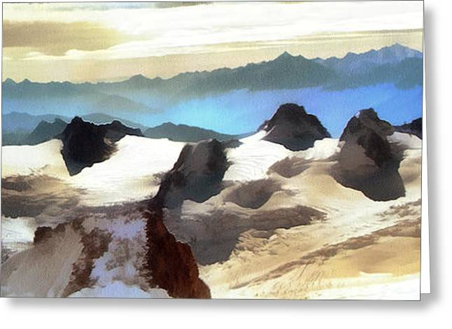 Dewdrops Paintings Greeting Cards - The mountain paint Greeting Card by Odon Czintos