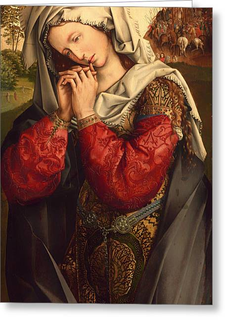 Religious Artwork Paintings Greeting Cards - The Mourning Mary Magdalene Greeting Card by Colijn de Coter