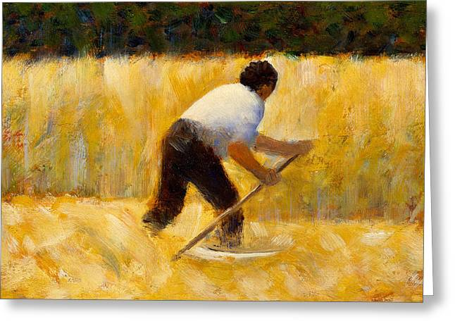 The Mower Greeting Card by Georges Pierre Seurat