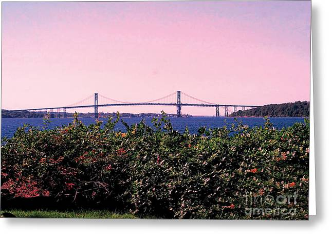 Ocean Scenes Greeting Cards - The Mt Hope Bridge Bristol Rhode Island Greeting Card by Tom Prendergast