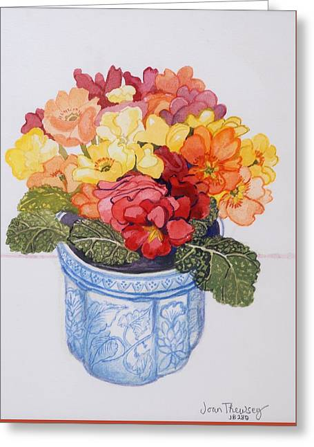 Tasteful Art Greeting Cards - The Multicolored Primrose Greeting Card by Joan Thewsey