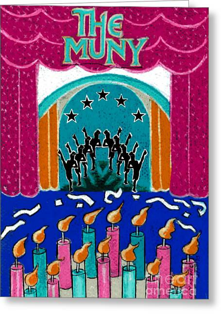 Star Greeting Cards - The Muny Birthday Celebration Greeting Card by Genevieve Esson