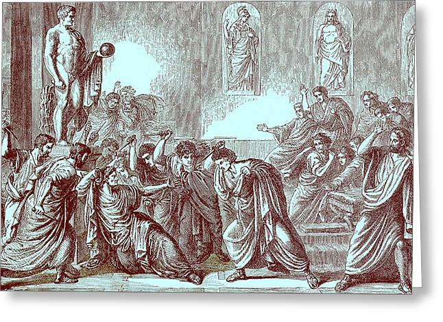 The Murder Of Julius Caesar Greeting Card by English School