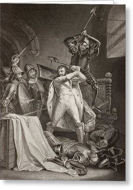 Castle Illustration Greeting Cards - The Murder Of Richard Ii Of England In Greeting Card by Ken Welsh