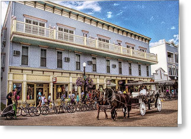 The Murray Hotel At Mackinac Island Greeting Card by Rebecca Snyder