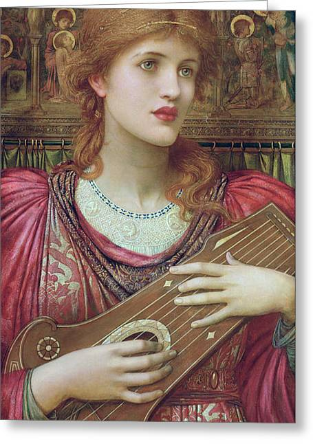The Music Faintly Falling Dies Away Greeting Card by John Melhuish Strudwick