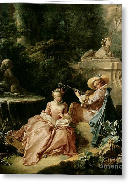 Boucher; Francois (1703-70) Greeting Cards - The Music Lesson Greeting Card by Francois Boucher