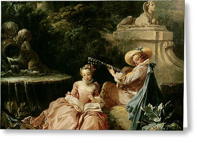 The Music Lesson Greeting Card by Francois Boucher