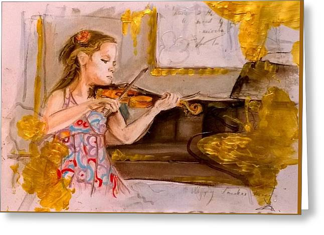 The Music Of Silence Greeting Card by Agnes V