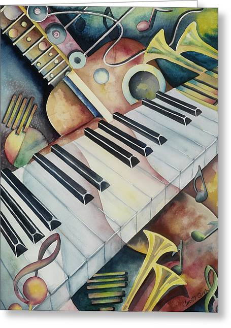 The Music Room Greeting Card by Christie Michael