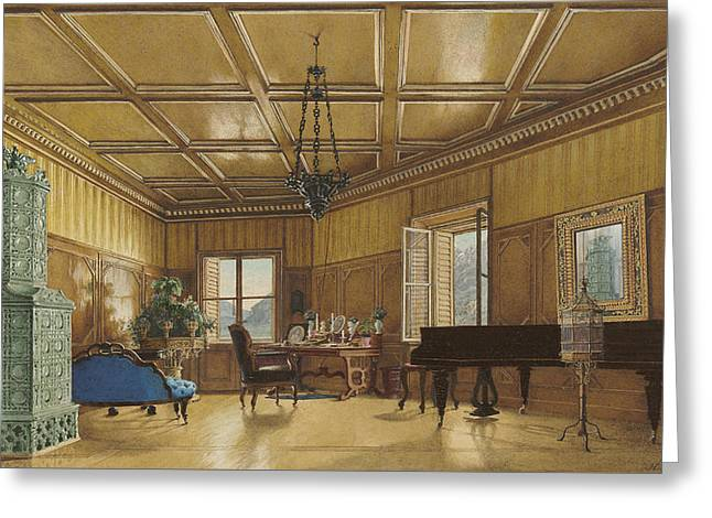 The Music Room Of Archduchess Margarete  Princess Of Saxony Greeting Card by Heinrich Von Forster
