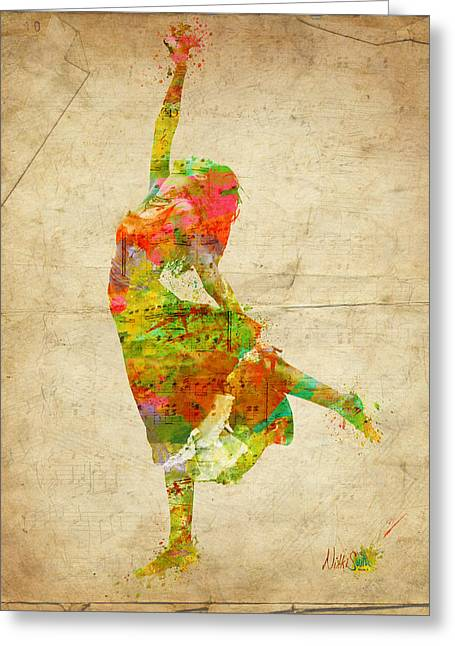 Dancing Girl Greeting Cards - The Music Rushing Through Me Greeting Card by Nikki Smith