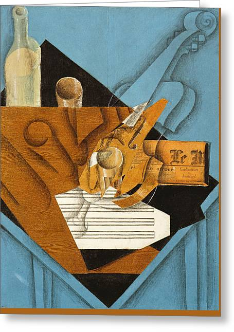 Fine Bottle Greeting Cards - The musicians table Greeting Card by Juan Gris