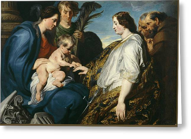 The Mystic Betrothal Of Saint Catherina Greeting Card by Anthony van Dyck