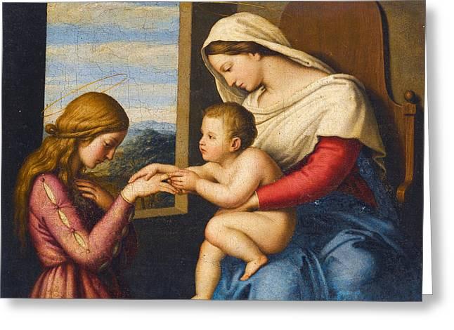 Sassoferrato Greeting Cards - The Mystic Marriage of Saint Catherine Greeting Card by Sassoferrato