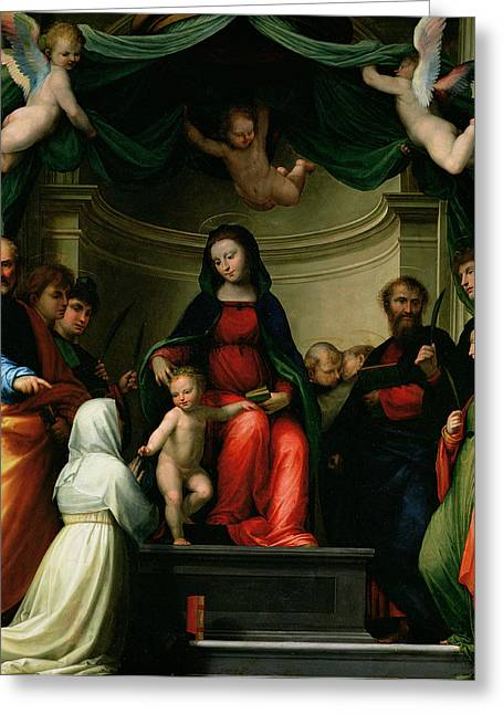 Francis Greeting Cards - The Mystic Marriage of St Catherine of Siena with Saints Greeting Card by Fra Bartolommeo - Baccio della Porta