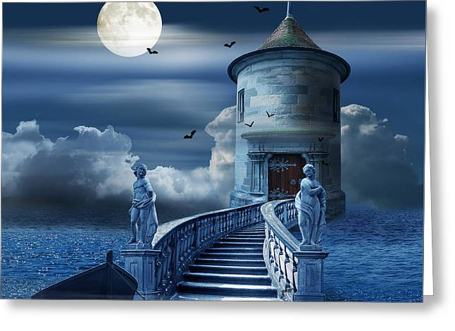 Sea Moon Full Moon Greeting Cards - The mystical place at sea Greeting Card by Monika Juengling