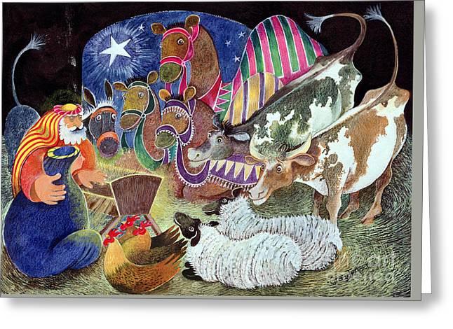 Star Of Bethlehem Greeting Cards - The Nativity Greeting Card by Lisa Graa Jensen