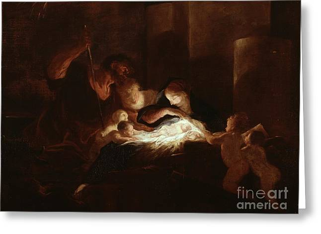 Chiaroscuro Greeting Cards - The Nativity Greeting Card by Pierre Louis Cretey or Cretet